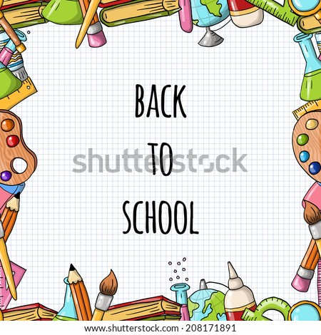 Vector frame/border with school icons and a place for your text  - stock vector