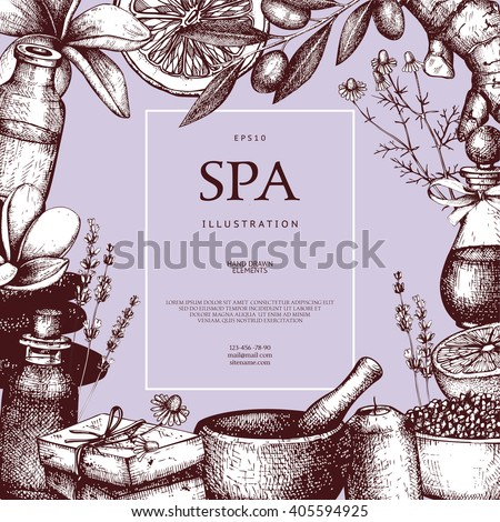 Vector frame design with hand drawn Spa illustration. Healh care sketch background with natural cosmetics elements and ingredients. Vintage template for your beauty salon - stock vector