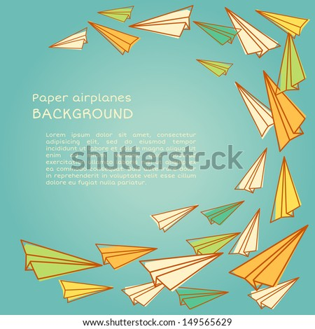 Vector frame design with paper planes - stock vector