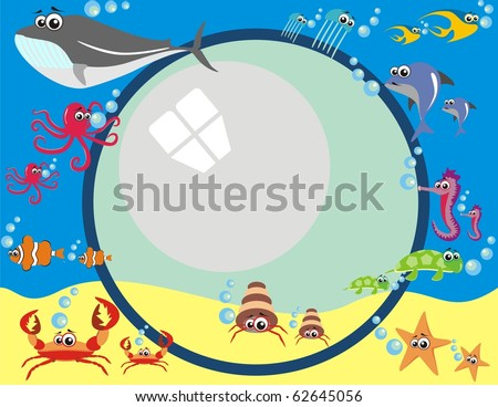 Vector - Frame Design with Under Water Animals & Breathing Bubbles - Octopus, Tropical Fish, Dolphin, Turtle, Jellyfish, Whale, Sea Horse, Star - stock vector