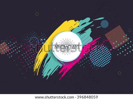 Vector frame for text and labels in the style of Modern Art graphics for hipsters background paint, design art element for design business cards, invitations, gift cards, flyers and brochures - stock vector