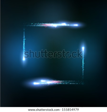 Vector frame formed by lights and sparkles - stock vector