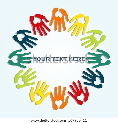 vector frame from colorful hands - stock vector