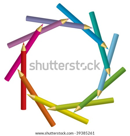 Vector frame from pencils - stock vector