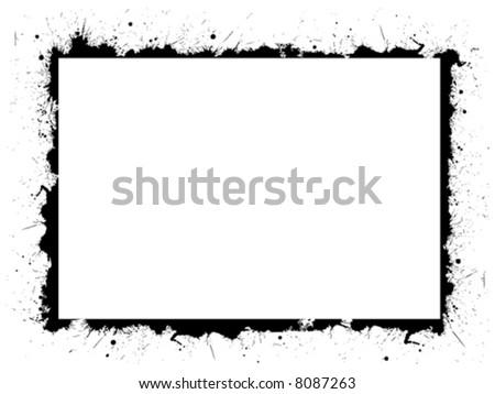 vector frame ink border from mascara on white background - stock vector