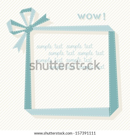 Vector frame made from blue paper ribbon with bow. Origami modern simple light background with text box for presentation. Original greeting, invitation card for print, web. Decorative illustration - stock vector