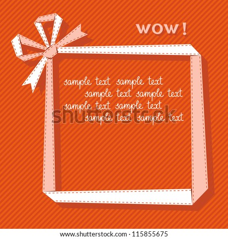 Vector frame made from light paper ribbon with bow. Origami modern simple background with text box for presentation. Original greeting, invitation card Valentines Day, Christmas, birthday, wedding