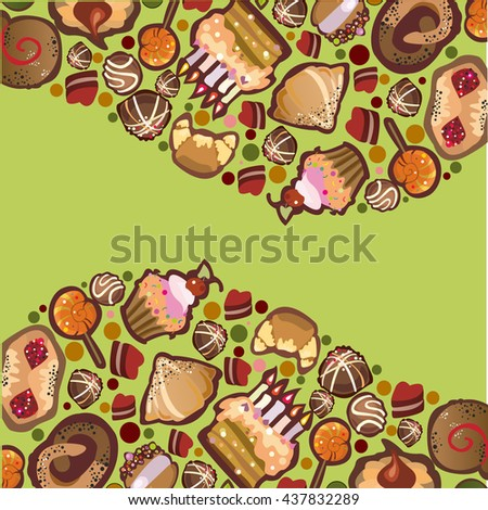 vector frame of pastries, cakes and chocolates
