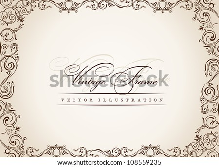 Vector frame. vintage antique floral decor ornament brown - stock vector