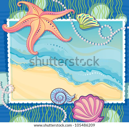 Vector frame with a picture of a sea wave. Making of the starfish, shells and strings of pearls. - stock vector