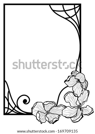 vector frame with apple flowers  in black and white colors - stock vector