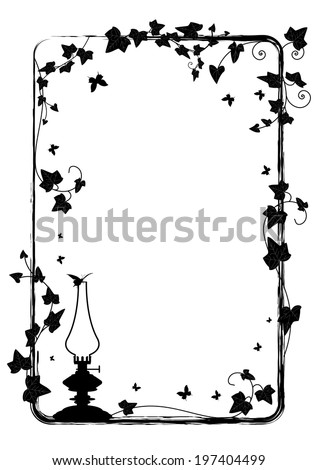 vector  frame with branch of ivy, butterflies and kerosene lamp - stock vector