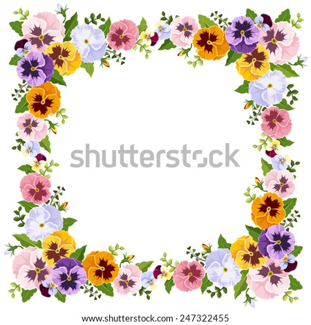 Vector frame with colorful pansy flowers. - stock vector