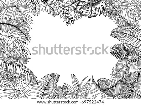 Vector Frame Exotic Palm Leaves Hand Stock Vector 697522474 ...