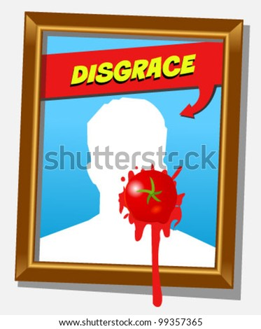 Vector frame with faceless man and splashed tomato. For propaganda and funny concepts - stock vector