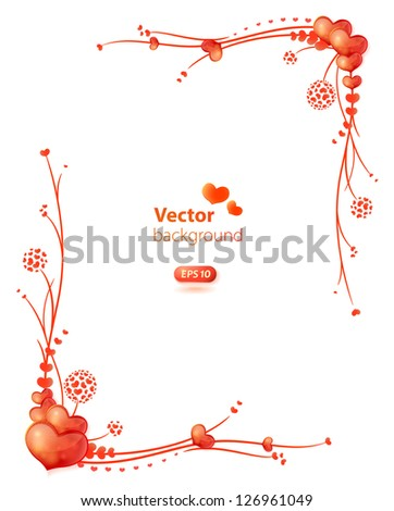 Vector frame with floral decorative ornament and glossy hearts. - stock vector