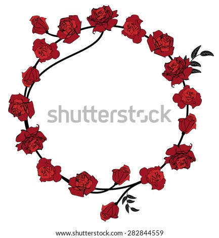 vector frame with flowers of red roses  - stock vector