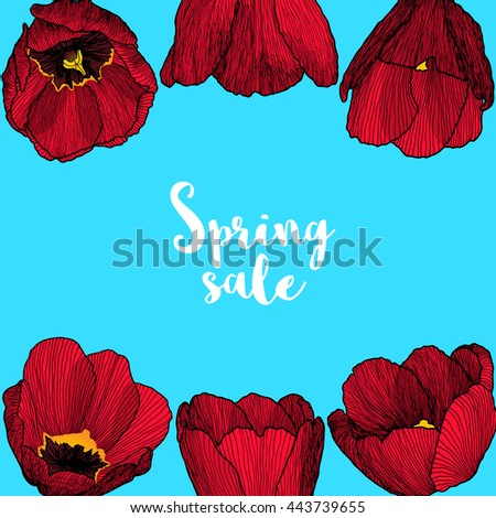Vector frame with hand drawn ink graphic red tulip flowers in a linear style with blank place for text. Vintage. For wedding invitation, card design, banner, special offer template - stock vector