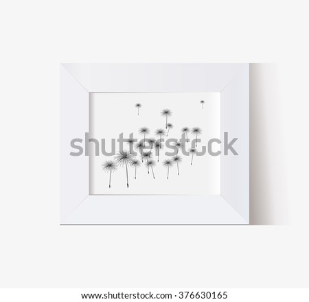 vector frame with multi-function horizontal shadow with dandelions - stock vector