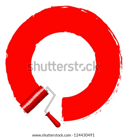 Vector frame with paint roller - red - stock vector