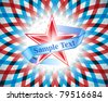 vector frame with red star and ribbon on american flag background - stock vector