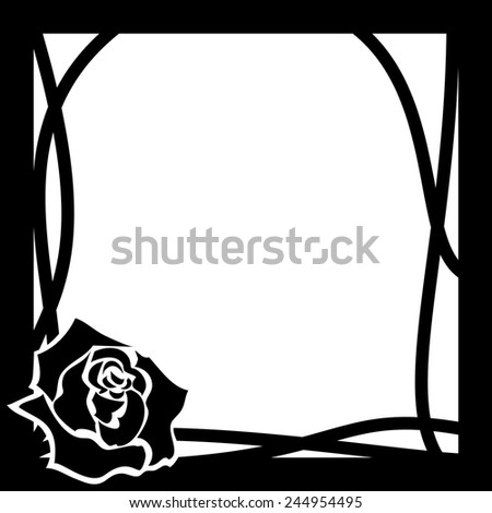 vector frame with rose in black and white colors - stock vector