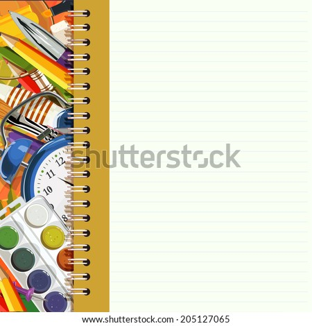 Vector frame with school supplies. School poster in vintage style. Back to school. - stock vector