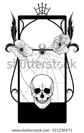 vector frame with skull and poppies in black and white colors - stock vector