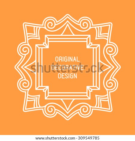 Vector frame with space for text in trendy mono line style - monogram design element - stock vector