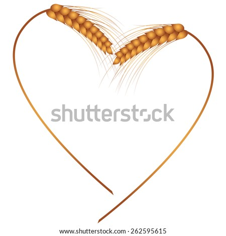 vector frame with the ears as heart - stock vector