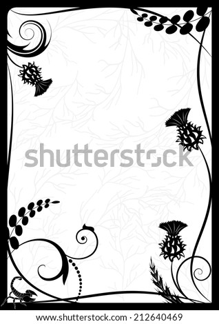 vector frame with thistle and scorpion in black and white colors - stock vector