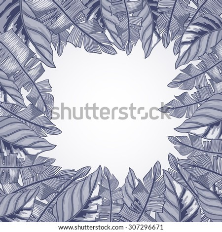 Vector frame with tropical leaves - stock vector