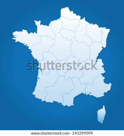 Vector France detailed map - stock vector