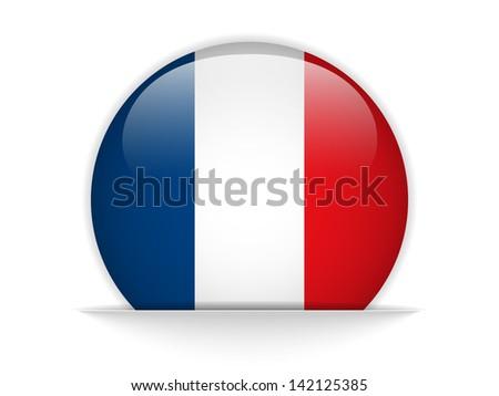 Vector - France Flag Glossy Button - stock vector