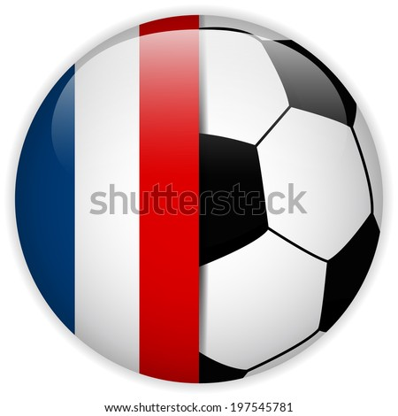 Vector - France Flag with Soccer Ball Background - stock vector