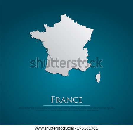 vector France Map card paper on blue background, high detailed
