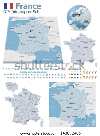 Vector France political and administrative divisions maps, France flag, Earth globe showing country location, map markers and related icon set - stock vector