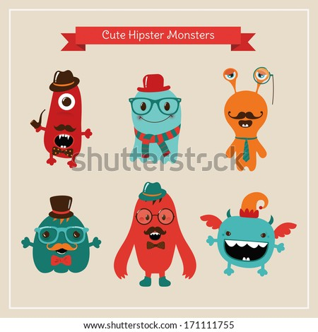 Vector Freaky Cute Retro Hipster Monsters, Funny Illustration. - stock vector