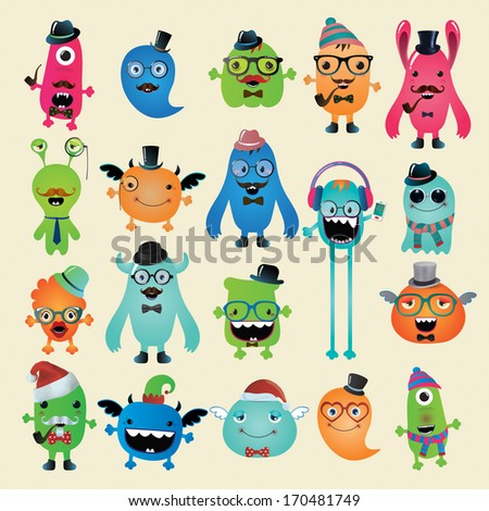 Vector Freaky Hipster Monsters Set, Funny Illustration. Fully editable and customizable characters and monsters - stock vector