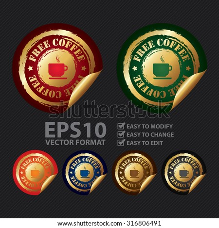 Vector : Free Coffee Infographics Peeling Sticker, Label, Icon, Sign or Badge - stock vector