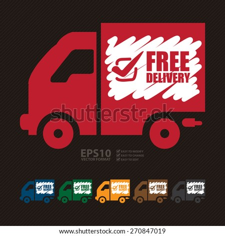 Vector : Free Delivery Banner, Sign, Label or Icon - stock vector