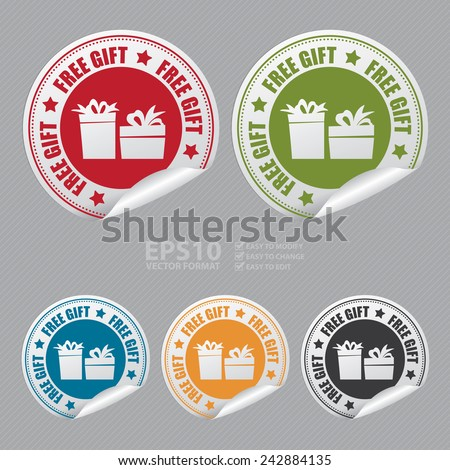 Vector : Free Gift Sticker, Icon or Label - stock vector