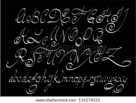 Vector free hand calligraphic alphabet, uppercase and lowercase letters. - stock vector