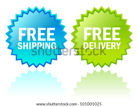 Vector free shipping icons - stock vector