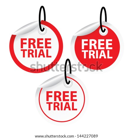 Vector. Free trial labels and stickers. - stock vector