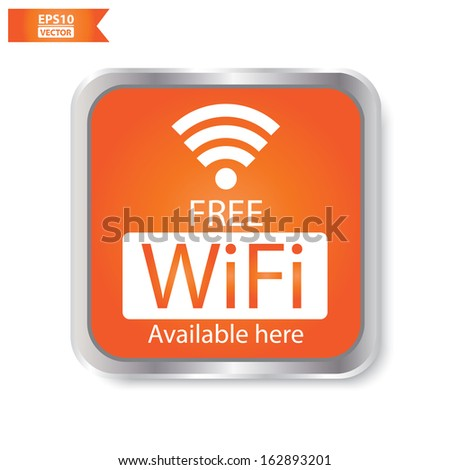 Vector: Free wifi available here sign with orange square isolated. Eps10. - stock vector