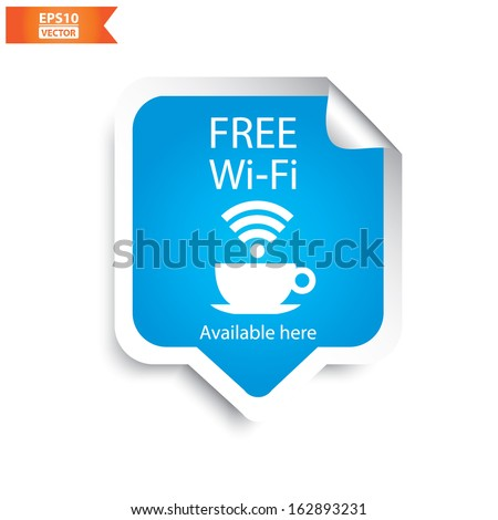 Vector: Free wifi cafe sticker with blue color. Eps10. - stock vector