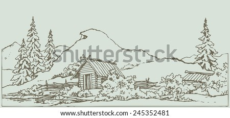 Vector freehand ink outline sketch in style of contour book engraving. Medieval rural scene with wooden hut under high grassy cliff on the shores of old pool with space for text against sky background - stock vector