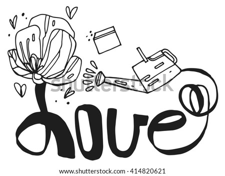 """Vector freehand letters """"love""""  text doodles.Love hand written  quote. Typographical background.lettering.Garden inspiration with flowers ,watering can and packet of seeds.Summer.Spring.Poppy flower. - stock vector"""