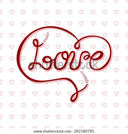 """Vector freehand letters """"love"""" text doodles, valentine's day  - stock vector"""
